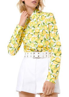 Michael Kors Lemon Print Button-Down Cotton Shirt
