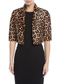 Michael Kors Leopard-Print Calf Hair Cropped Bolero Jacket