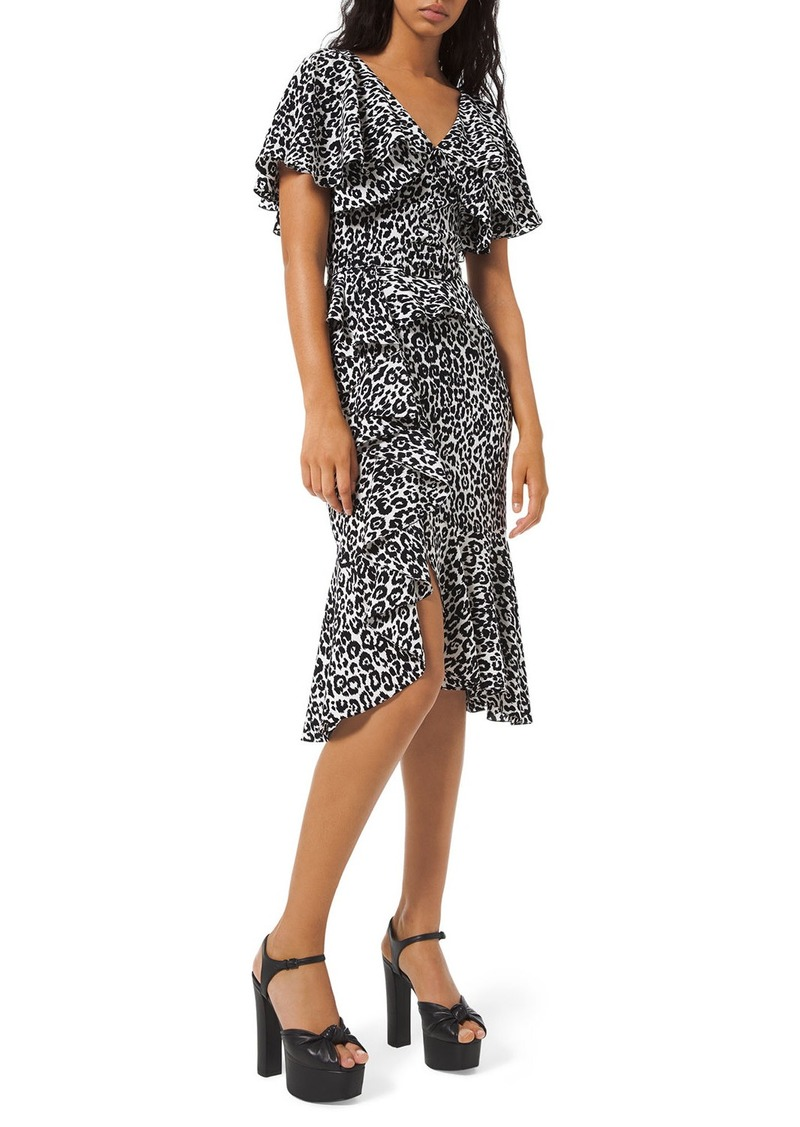 Michael Kors Leopard-Print Cape-Sleeve Dress