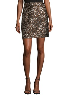 Michael Kors Leopard-Print Jacquard Skirt