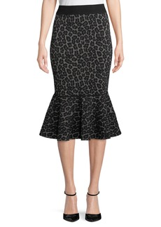 Michael Kors Leopard-Print Pencil Peplum Midi Skirt