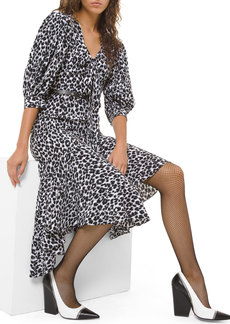 Michael Kors Leopard-Print Silk Asymmetric Dress