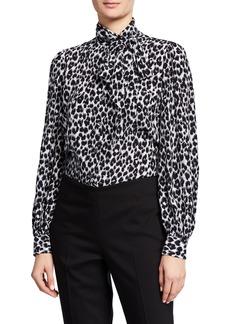Michael Kors Leopard Print Tie Neck Blouse