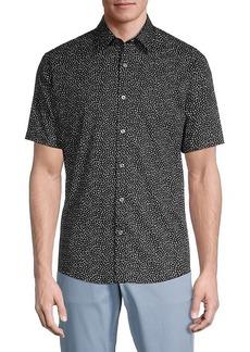 Michael Kors Lewis Speckle-Print Short-Sleeve Shirt