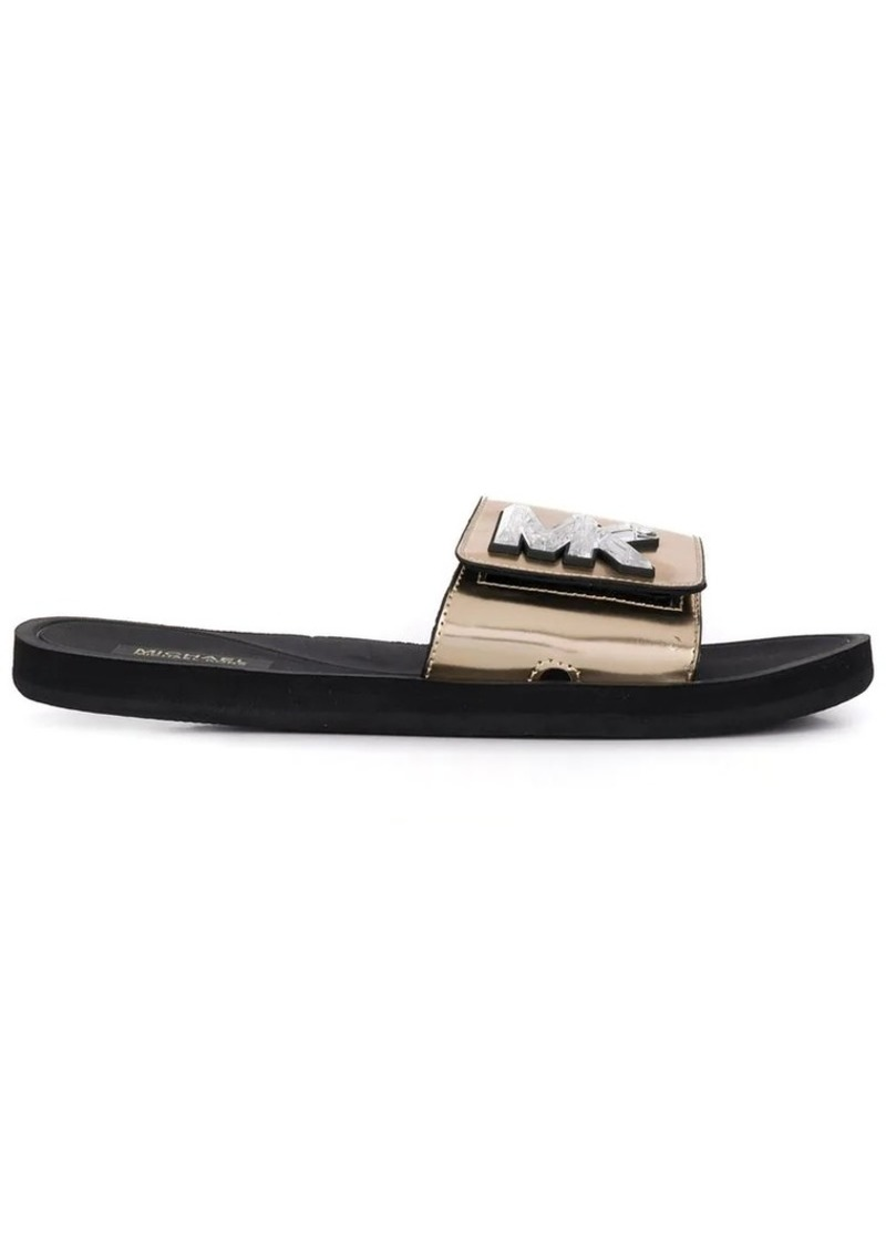 Michael Kors logo plaque slide sandals