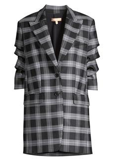 Michael Kors Long Plaid Single-Breasted Tiered-Sleeve Blazer