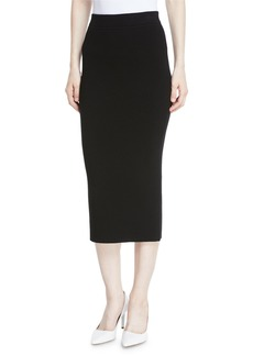 Michael Kors Long Ribbed Cashmere Midi Pencil Skirt