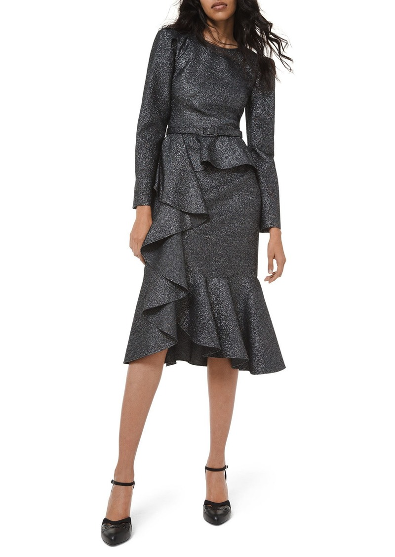 Michael Kors Long-Sleeve Asymmetric Cocktail Dress