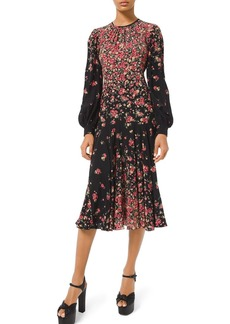 Michael Kors Long-Sleeve Degrade Floral-Print Dress