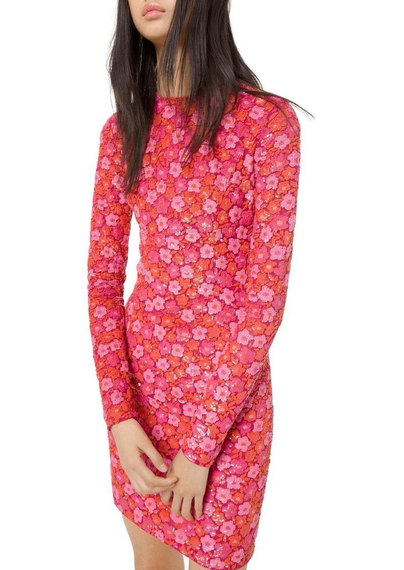 Michael Kors Long-Sleeve Floral Sequin Embellished Dress