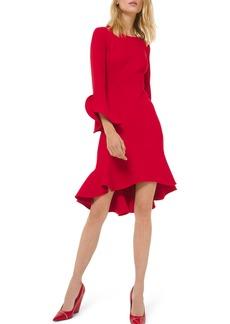 Michael Kors Long-Sleeve Flounce Dress