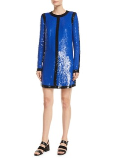 Michael Kors Long-Sleeve Sequin-Embroidered Shift Dress