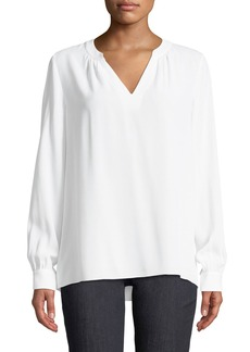 Michael Kors Long-Sleeve Silk V-Neck Blouse