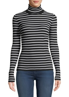 Michael Kors Long-Sleeve Striped Turtleneck Top