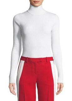 Michael Kors Long-Sleeve Zip-Back Turtleneck Sweater