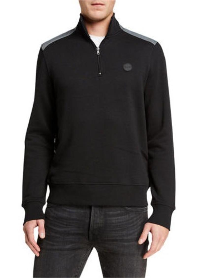 Michael Kors Men's 1/4-Zip Nylon-Shoulder Sweater