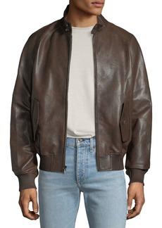 Michael Kors Men's Barracuda Leather Zip-Front Jacket