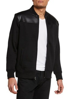 Michael Kors Men's Bomber Jacket w/ Faux Leather