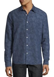 Michael Kors Men's Camo-Print Linen/Cotton Button-Down Shirt