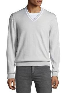 Michael Kors Men's Cotton V-Neck Sweater w/ Tipping