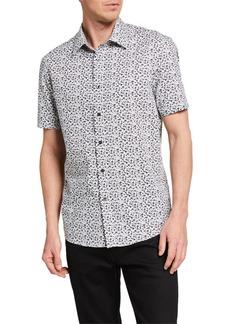 Michael Kors Men's Dobby Floral Print Sport Shirt