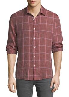 Michael Kors Men's Hartman Linen Plaid Button-Down Shirt