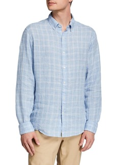 Michael Kors Men's Linen Melange Check Sport Shirt