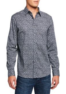 Michael Kors Men's Rose-Print Slim-Fit Sport Shirt