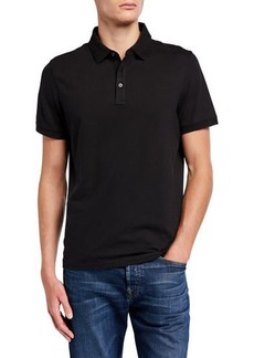 Michael Kors Men's Solid Birdseye Metal-Button Polo Shirt