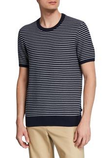 Michael Kors Men's Striped Short-Sleeve Luxe Cotton Sweater