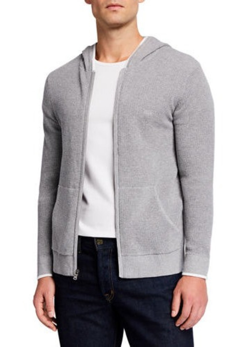 Michael Kors Men's Tipped Thermal Front-Zip Hoodie Sweater