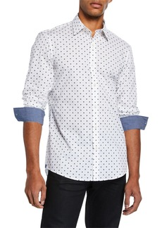 Michael Kors Men's Trim-Fit  Stretch Print Sport Shirt