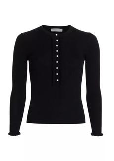 Michael Kors Merino Wool Ruffle Henley Shirt