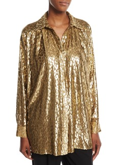 Michael Kors Metallic Cheetah Fil Coupe Shirt