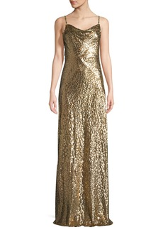 Michael Kors Metallic Cowl-Neck Gown
