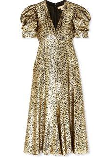 Michael Kors Metallic Fil Coupé Leopard-jacquard Midi Dress