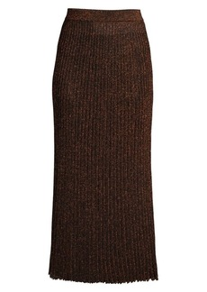 Michael Kors Metallic Rib-Knit Midi Skirt
