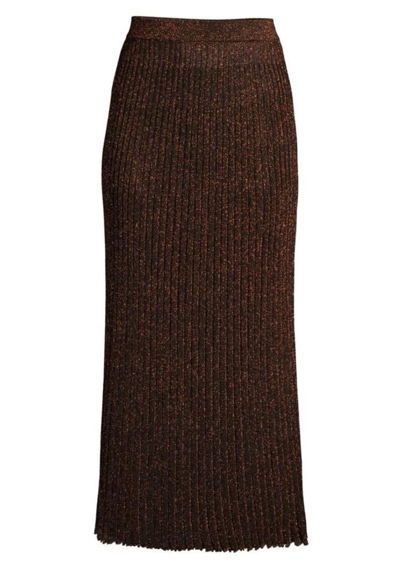 Michael Kors Metallic Rib-Knit Midi Skirt