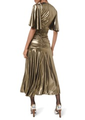 Michael Kors Metallic Ruched Cocktail Dress