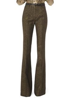 Michael Kors Metallic Wool Flare-Leg Pants