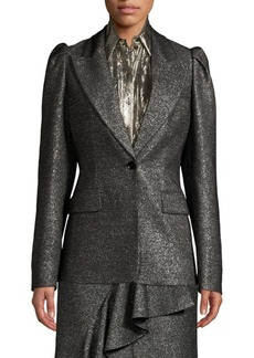 Michael Kors Metallic Wool Puff-Sleeve Blazer