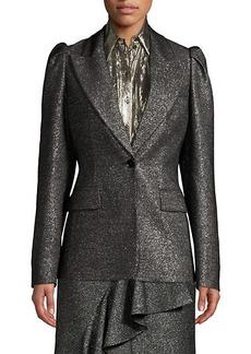 Michael Kors Metallic Wool Puff-Sleeve Blazer