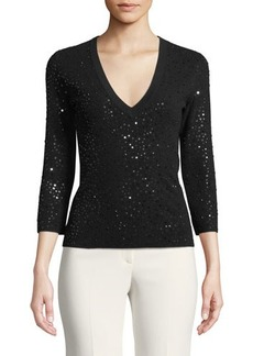 Michael Kors Collection 3/4-Sleeve V-Neck Sequin Sweater