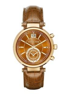 MICHAEL Michael Kors 39mm Sawyer Chronograph Watch w/ Leather Strap