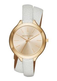 MICHAEL Michael Kors 42mm Slim Runway Leather Wrap Watch