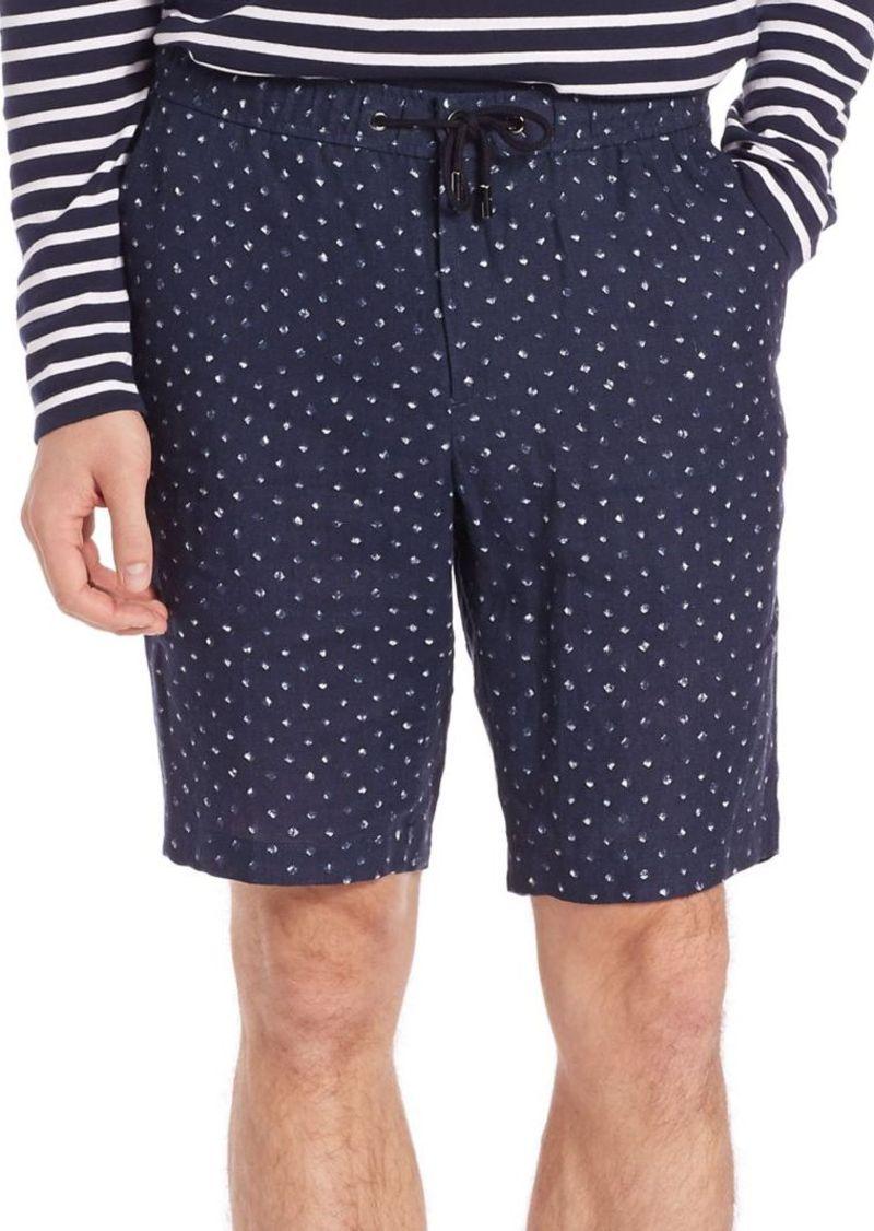 Michael Kors Batik Diamond-Print Linen Shorts