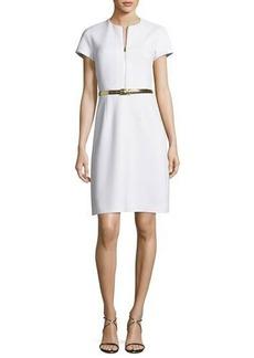 Michael Kors Belted A-Line Zip-Front Dress