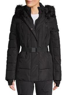 MICHAEL Michael Kors Belted Faux Fur Trim Walker Coat