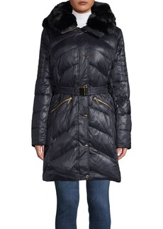 MICHAEL Michael Kors Belted Faux Fur Trimmed Walker Fill Coat