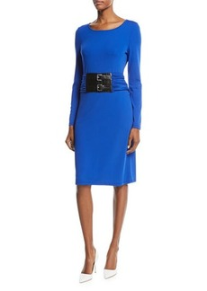 Michael Kors Collection Belted Stretch-Matte Jersey Dress